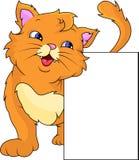 Cute cat cartoon with blank sign Stock Photo