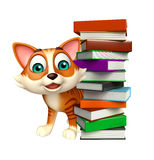 Cute cat cartoon character book stack