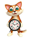 Cute cat cartoon character with clock Royalty Free Stock Image