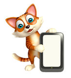 Cute cat cartoon character with mobile Stock Photos