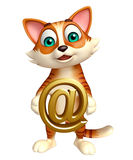 Cute  cat cartoon character with at the rate sign Royalty Free Stock Photos