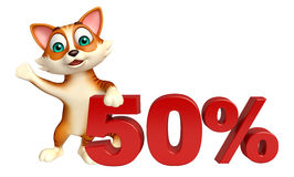 Cute cat cartoon character with 50% sign Royalty Free Stock Photos