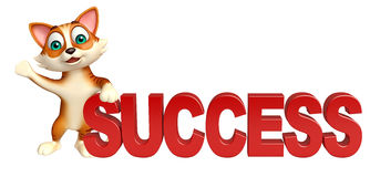 Cute cat cartoon character with success sign Royalty Free Stock Image