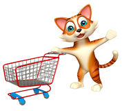 Cute cat cartoon character with trolly Royalty Free Stock Photo