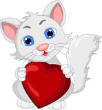 Cute cat cartoon expression with love heart Royalty Free Stock Images