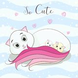 Cute cat cartoon hugs her childs stock illustration