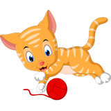 Cute cat cartoon. Playing with ball of yarn Royalty Free Stock Image
