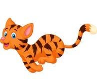 Cute cat cartoon running Stock Images