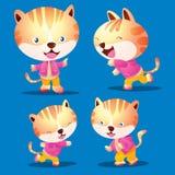 Cute cat cartoon. Vecter Cute cat cartoon look smart character many actions Stock Image