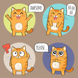 Cute Cat Character with different emotions. Stock Photo
