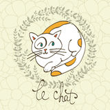 Cute cat character illustration with french lettering of cat word , Le Chat means cat in French Stock Photos