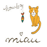 Cute cat character illustration with russian lettering of cat word , koshka means cat in Russian, and sardine Royalty Free Stock Photography