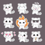Cute cat character. Set of cute cat character with emotions. Vector cat Royalty Free Stock Photos