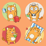 Cute cat character on summer vacation Stock Photo