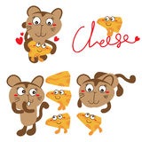 Cute cat cheese cartoon Stock Photo
