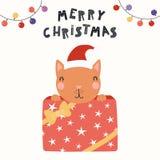 Cute cat Christmas card stock illustration