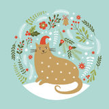 Cute cat , Christmas card Royalty Free Stock Image