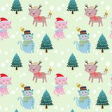 Cute cat and christmas tree seamless pattern. vector illustration