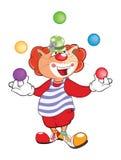 Cute Cat Clown Juggler Cartoon Stock Images