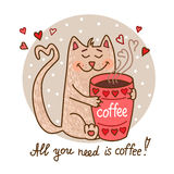 Cute cat with coffee Royalty Free Stock Images