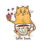 Cute cat with coffee 2 Stock Photography