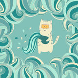 Cute cat in colored vector decorative frame. Stock Image