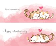 Cute cat couple cuddle heart water color. With happy valentines text .two side graphic front and back stock illustration