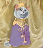 Cute cat in crown and royal robes. Golden drapes in the background Stock Photo