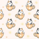 Cute cat in a cup of coffee Seamless Pattern Background vector illustration
