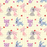 Cute lovely cat and dog with heart seamless pattern. stock illustration