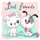 Cute Cat and Dog on a pink background stock illustration