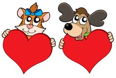 Cute cat and dog with red hearts Stock Photos