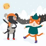 Cute cat and dog in winter. Hand drawn vector illustration of a cute funny cat and dog having snowball fight outdoors in winter, with mountain landscape vector illustration