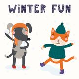 Cute cat and dog in winter. Hand drawn vector illustration of a cute funny cat and dog having snowball fight outdoors, with text Winter fun. Isolated objects on stock illustration