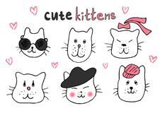 Cute cat doodle series, cat avatars, Cats sketch line style icons. Royalty Free Stock Photo