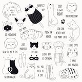 Cute Cat Doodles And Quotes Set Stock Photography