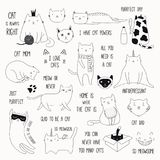 Cute Cat Doodles And Quotes Set Royalty Free Stock Photo
