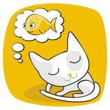 Cute Cat Dreaming Stock Images