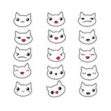 Cute cat emotions set. Set of cute doodle emotions cat. Emotions for design. Anime. Icons cat emotion. Angry and joyfull. Surprised and Happy. Laughter and Stock Photography