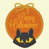 Cute Cat Face with Halloween Wool Ball, Vector Illustration Stock Image