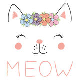Cute cat face poster. Hand drawn vector illustration of a funny cat girl face in a flower chain, with text Meow. Isolated objects on white background. Design Royalty Free Stock Images