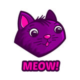 Cute cat face and text Meow. Vector illustration Stock Photography