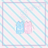 Cute cat family group frame Royalty Free Stock Images
