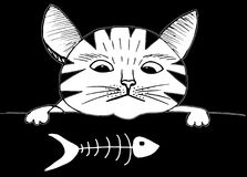Cute cat and fish. Cartoon style, hand drawing. Cute cat with sad face and fish doodle illustration. Cartoon style, hand drawing Royalty Free Stock Photography
