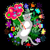 Cute cat with floral background and plate with empty space for text. Royalty Free Stock Photography