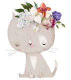 Cute cat with floral wreath Stock Image