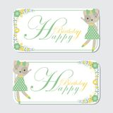 Cute cat and flower border suitable for birthday label design. Vector cartoon illustration with cute cat and flower border suitable for birthday label design Royalty Free Stock Photography