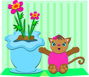 Cute Cat with Flower Pot Stock Images
