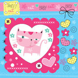 Cute cat with flowers  illustration Stock Photo