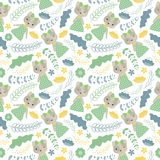 Cute cat and flowers vector cartoon suitable for wallpaper design. Seamless pattern with cute cat and flowers vector cartoon suitable for wallpaper design, scrap Stock Image